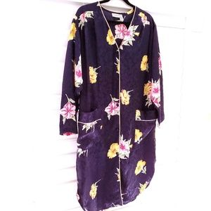 Christian Dior Lingerie Floral Robe Navy Size M